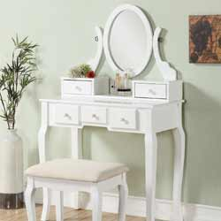 Roundhill Furniture Ashley Wood Make-Up Vanity Table
