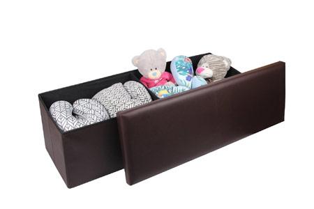 Faux Leather Folding Storage Ottoman Bench